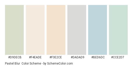 Pastel Blur - Color scheme palette thumbnail - #d9decb #f4eade #f3e2ce #dadad9 #bed6dc #cce2d7