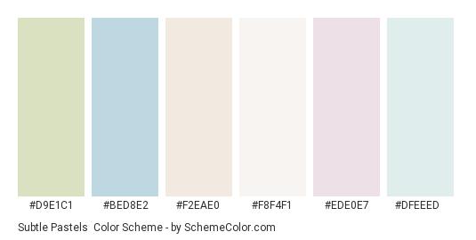 Subtle Pastels - Color scheme palette thumbnail - #d9e1c1 #bed8e2 #f2eae0 #f8f4f1 #ede0e7 #dfeeed