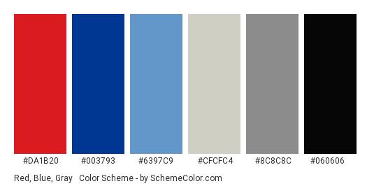 Red, Blue, Gray & Black - Color scheme palette thumbnail - #da1b20 #003793 #6397c9 #cfcfc4 #8c8c8c #060606