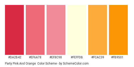 Party Pink And Orange Color Scheme Palette Thumbnail Da2b42 Ef6a78 Ef8c98