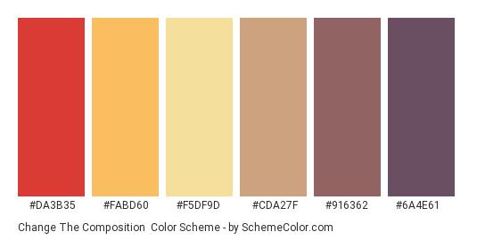 Change the Composition - Color scheme palette thumbnail - #da3b35 #fabd60 #f5df9d #cda27f #916362 #6a4e61