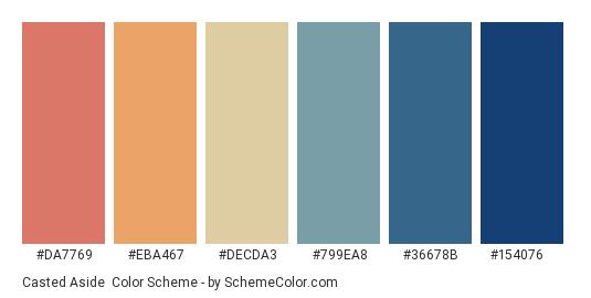 Casted Aside - Color scheme palette thumbnail - #da7769 #eba467 #decda3 #799ea8 #36678b #154076