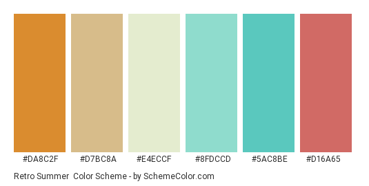 Retro Summer - Color scheme palette thumbnail - #da8c2f #d7bc8a #e4eccf #8fdccd #5ac8be #d16a65