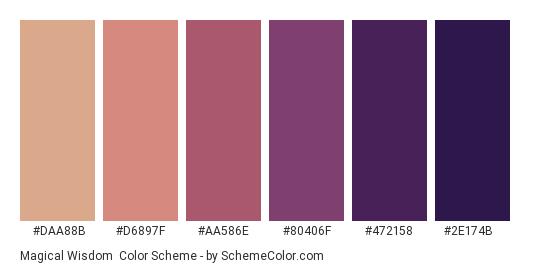Magical Wisdom - Color scheme palette thumbnail - #daa88b #d6897f #aa586e #80406f #472158 #2e174b