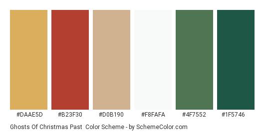 Ghosts of Christmas Past - Color scheme palette thumbnail - #daae5d #b23f30 #d0b190 #f8fafa #4f7552 #1f5746