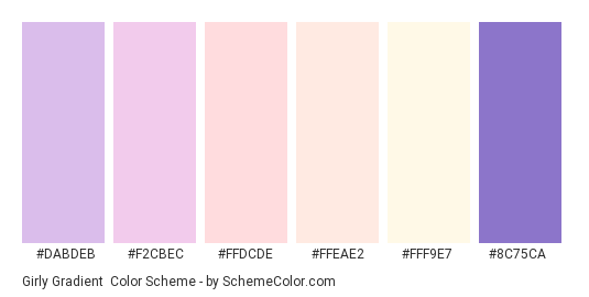 Girly Gradient - Color scheme palette thumbnail - #dabdeb #f2cbec #ffdcde #ffeae2 #fff9e7 #8c75ca