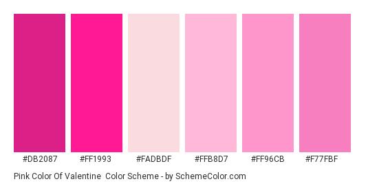 Pink Color of Valentine - Color scheme palette thumbnail - #db2087 #ff1993 #fadbdf #ffb8d7 #ff96cb #f77fbf