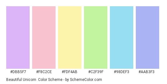Beautiful Unicorn - Color scheme palette thumbnail - #dbb5f7 #f8c2ce #fdf4ab #c2f39f #98def3 #aab3f3