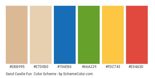 Sand Castle Fun - Color scheme palette thumbnail - #dbb995 #e7d0b0 #156eb6 #66a229 #fdc743 #e04a3d