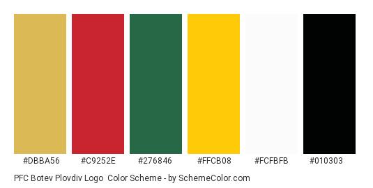 PFC Botev Plovdiv Logo - Color scheme palette thumbnail - #dbba56 #c9252e #276846 #ffcb08 #fcfbfb #010303