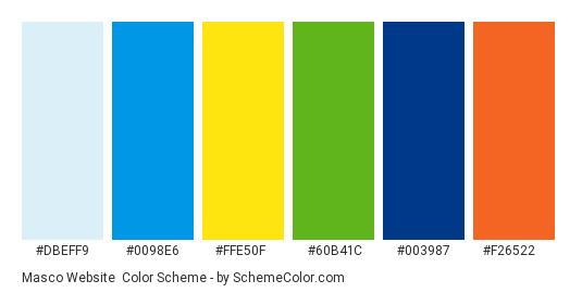Masco Website - Color scheme palette thumbnail - #dbeff9 #0098e6 #ffe50f #60b41c #003987 #f26522