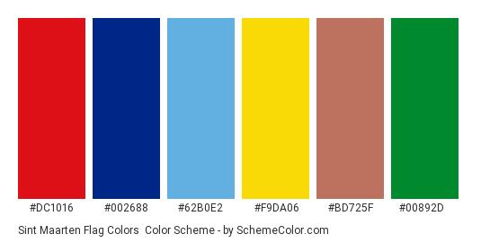 Sint Maarten Flag Colors - Color scheme palette thumbnail - #dc1016 #002688 #62b0e2 #f9da06 #bd725f #00892d