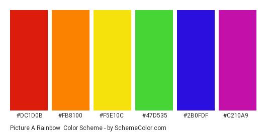 Picture a Rainbow - Color scheme palette thumbnail - #dc1d0b #fb8100 #f5e10c #47d535 #2b0fdf #c210a9