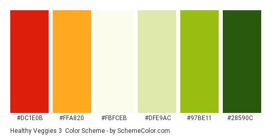 Healthy Veggies 3 - Color scheme palette thumbnail - #dc1e0b #ffa820 #fbfceb #dfe9ac #97be11 #28590c