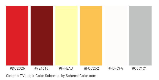 Cinema TV Logo - Color scheme palette thumbnail - #dc2026 #7e1616 #fffead #fcc252 #fdfcfa #c0c1c1