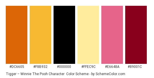 Tigger – Winnie the Pooh Character - Color scheme palette thumbnail - #dc6605 #f8b932 #000000 #ffec9c #e6648a #89001c