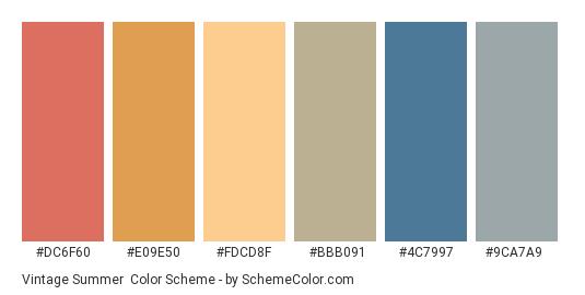 Vintage Summer - Color scheme palette thumbnail - #dc6f60 #e09e50 #fdcd8f #bbb091 #4c7997 #9ca7a9