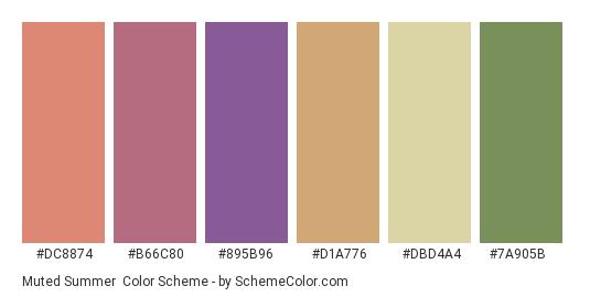 Muted Summer - Color scheme palette thumbnail - #dc8874 #b66c80 #895b96 #d1a776 #dbd4a4 #7a905b