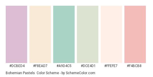 Bohemian Pastels - Color scheme palette thumbnail - #dcbed4 #f8ead7 #a9d4c5 #dce4d1 #ffefe7 #f4bcb8