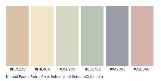 Natural Pastel Retro - Color scheme palette thumbnail - #dcc2a7 #f4e4ca #d5d9c3 #b5c7b2 #9a9ca8 #d3b3ac