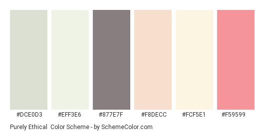 Purely Ethical - Color scheme palette thumbnail - #dce0d3 #eff3e6 #877e7f #f8decc #fcf5e1 #f59599