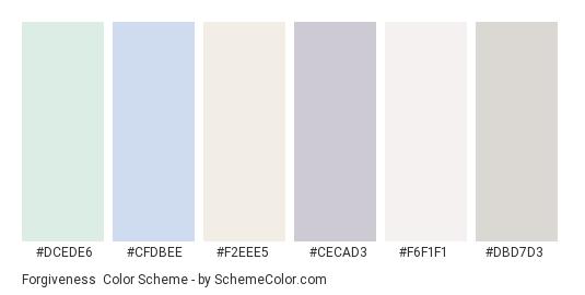 Forgiveness - Color scheme palette thumbnail - #dcede6 #cfdbee #f2eee5 #cecad3 #f6f1f1 #dbd7d3