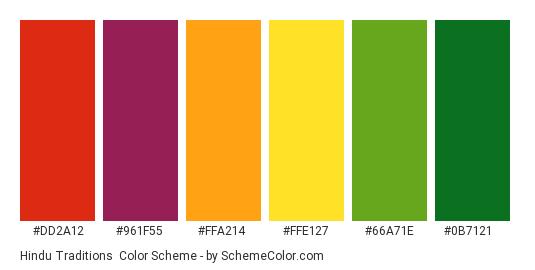 Hindu Traditions - Color scheme palette thumbnail - #dd2a12 #961f55 #ffa214 #ffe127 #66a71e #0b7121