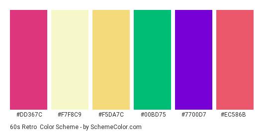 60s Retro - Color scheme palette thumbnail - #dd367c #f7f8c9 #f5da7c #00bd75 #7700d7 #ec586b