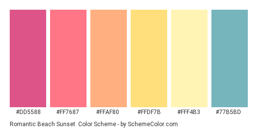 Romantic Beach Sunset - Color scheme palette thumbnail - #dd5588 #ff7687 #ffaf80 #ffdf7b #fff4b3 #77b5bd