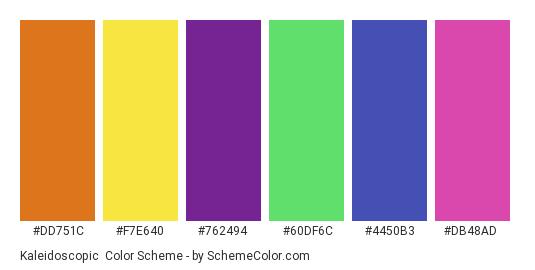 Kaleidoscopic - Color scheme palette thumbnail - #dd751c #f7e640 #762494 #60df6c #4450b3 #db48ad