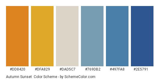 Autumn Sunset - Color scheme palette thumbnail - #dd8420 #dfa829 #dad5c7 #769db2 #497fa8 #2e5791