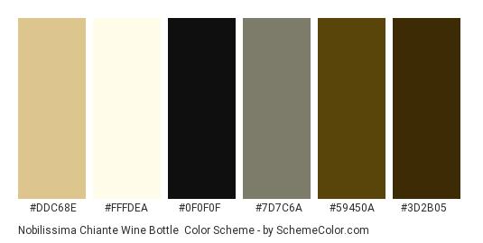 Nobilissima Chiante Wine Bottle - Color scheme palette thumbnail - #ddc68e #fffdea #0f0f0f #7d7c6a #59450a #3d2b05