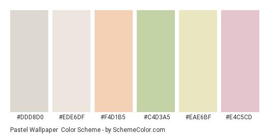 Pastel Wallpaper - Color scheme palette thumbnail - #ddd8d0 #ede6df #f4d1b5 #c4d3a5 #eae6bf #e4c5cd