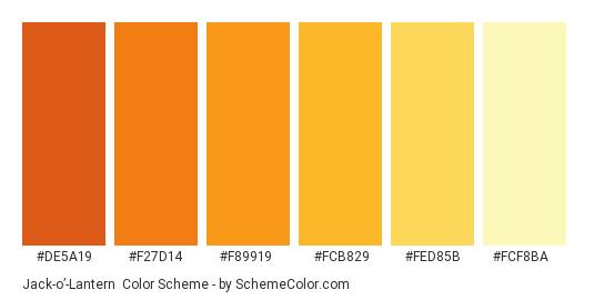 Jack-o'-Lantern - Color scheme palette thumbnail - #de5a19 #f27d14 #f89919 #fcb829 #fed85b #fcf8ba