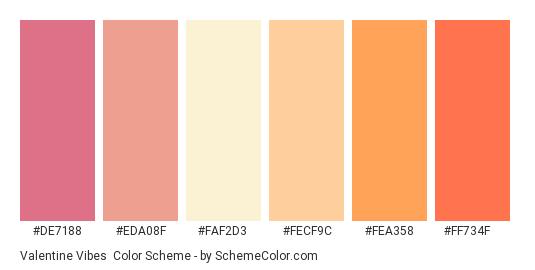 Valentine Vibes - Color scheme palette thumbnail - #de7188 #eda08f #faf2d3 #fecf9c #fea358 #ff734f