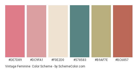 Vintage Feminine - Color scheme palette thumbnail - #de7d89 #dc9fa1 #f0e2d0 #578583 #b9af7e #bc6857