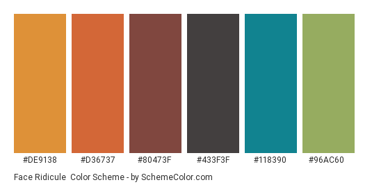 Face Ridicule - Color scheme palette thumbnail - #de9138 #d36737 #80473f #433f3f #118390 #96ac60
