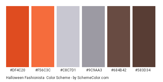 Halloween Fashionista - Color scheme palette thumbnail - #df4c20 #f56c3c #c8c7d1 #9c9aa3 #684b42 #583d34