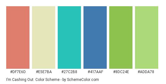 I'm Cashing Out - Color scheme palette thumbnail - #df7e6d #e5e7ba #27c2b8 #417aaf #8dc24e #adda78