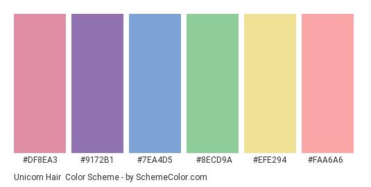 Unicorn Hair - Color scheme palette thumbnail - #df8ea3 #9172b1 #7ea4d5 #8ecd9a #efe294 #faa6a6