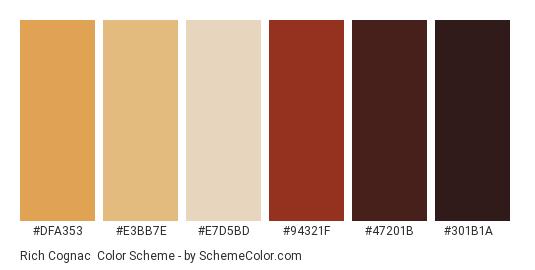 Rich Cognac - Color scheme palette thumbnail - #dfa353 #e3bb7e #e7d5bd #94321f #47201b #301b1a