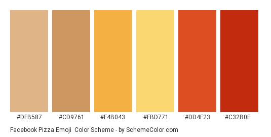 Facebook Pizza Emoji - Color scheme palette thumbnail - #dfb587 #cd9761 #f4b043 #fbd771 #dd4f23 #c32b0e
