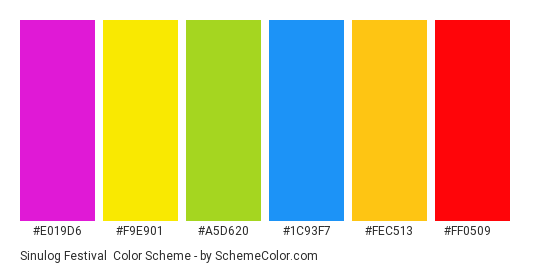 Sinulog Festival - Color scheme palette thumbnail - #e019d6 #f9e901 #a5d620 #1c93f7 #fec513 #ff0509
