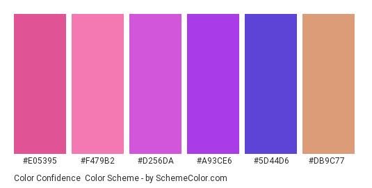 Color Confidence - Color scheme palette thumbnail - #e05395 #f479b2 #d256da #a93ce6 #5d44d6 #db9c77