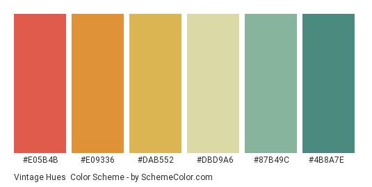 Vintage Hues - Color scheme palette thumbnail - #e05b4b #e09336 #dab552 #dbd9a6 #87b49c #4b8a7e