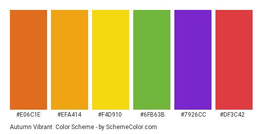 Autumn Vibrant - Color scheme palette thumbnail - #e06c1e #efa414 #f4d910 #6fb63b #7926cc #df3c42