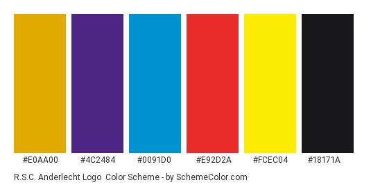 R.S.C. Anderlecht Logo - Color scheme palette thumbnail - #e0aa00 #4c2484 #0091d0 #e92d2a #fcec04 #18171a