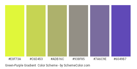Green-Purple Gradient - Color scheme palette thumbnail - #e0f73a #c6d453 #adb16c #938f85 #7a6c9e #6049b7
