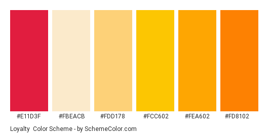 Loyalty - Color scheme palette thumbnail - #e11d3f #FBEACB #fdd178 #fcc602 #fea602 #fd8102