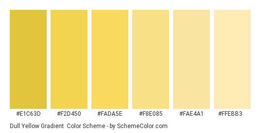 Dull Yellow Gradient - Color scheme palette thumbnail - #e1c63d #f2d450 #fada5e #f8e085 #fae4a1 #ffebb3